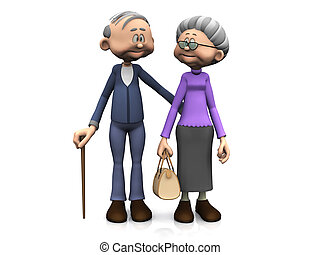 karikatur, senioren, ehepaar.