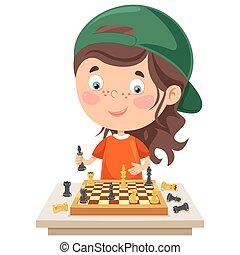 karikatur, spiel, spielenden schach, zeichen