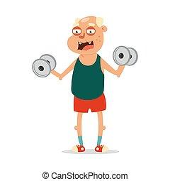 karikatur, sports., character., altes , workout, übung, joga, vector., mann, fitness