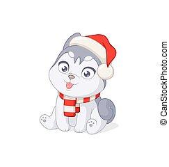 karikatur, vektor, weißes, reizend, hintergrund., claus, weihnachten, abbildung, heiser, hat., junger hund, santa