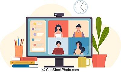 karikatur, video, versammlung, begriff, wohnung, entfernt, online, vektor, oder, kommunikation, virtuell, arbeit, gemeinschaftsarbeit, friends, software, computerarbeitsplatz, kollegen, gruppe, treffen, conferencing., schreibtisch