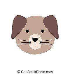 karikatur, wohnung, ikone, stil, reizend, hund, vektor, design