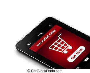 karren, freigestellt, shoppen, weißes, aus, tablette