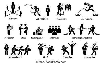 karriere, heiligenbilder, set., arbeit, anstellung