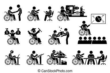 karriere, icons., erfolgreich, guten, arbeit, person, haben, stock, behinderten, figuren