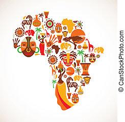 Karte Afrikas mit Vektor-Icons.