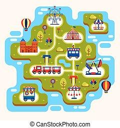Karte des Vergnügungsparks mit Attraktionen