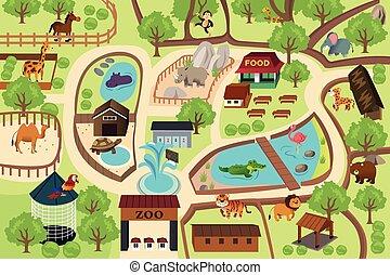 Karte eines Zooparks.