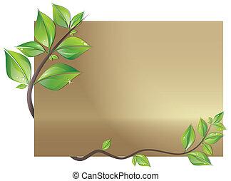 Karte mit Blättern dekoriert.