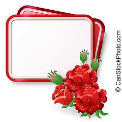 Karte mit roten Rosen und Tautropfen