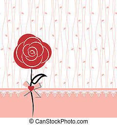 Karte mit roter Rose