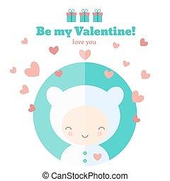 Karte mit süßem Kind für den Valentinstag