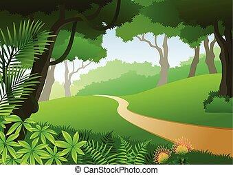 Karte mit tropischem Wald Hintergrund.