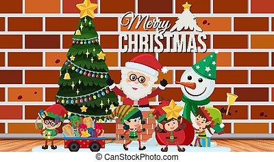 karte, schablone, schneemann, santa, weihnachten