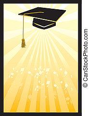 karte, spotlight., studienabschluss, gelber , moerser