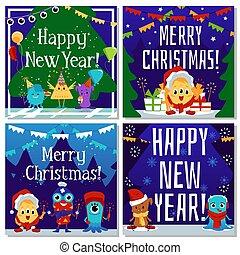 karte, vektor, satz, wohnung, monster, illustration., lustiges, reizend, weihnachten, karikatur