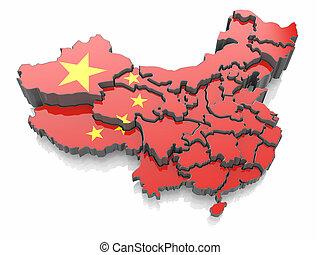 Karte von China in nationalen Flaggenfarben