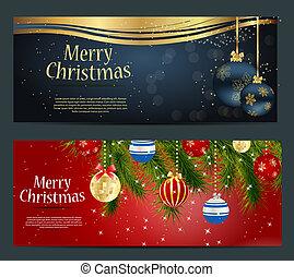Karten mit Weihnachtskugeln, Sternen und Schneeflocken, Vektor Illustration