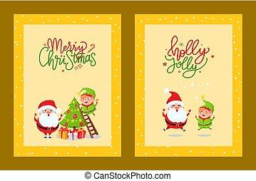 Karten mit Weihnachtsstimmung und Zeichentrickfigur