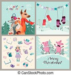 karten., satz, designs., vier, verschieden, vektor, weihnachten, winter