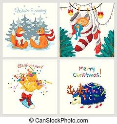 karten., satz, vier, entwürfe, verschieden, vektor, weihnachten, winter