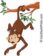Kartoon-Affe hängt mit seinem Schwanz am Baumzweig.
