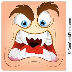Kartoon aggressives Gesicht.