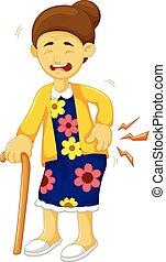 Kartoon alte Großmutter war lumbago.