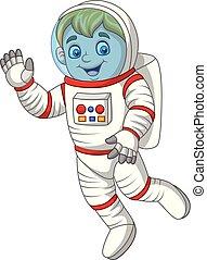 Kartoon-Astronaut winkt mit der Hand.