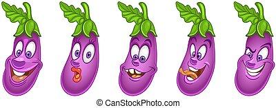Kartoon Aubergine. Gemüsekollektion