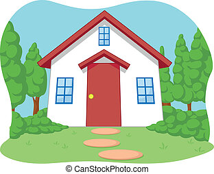 Kartoon aus süßem, kleinen Haus