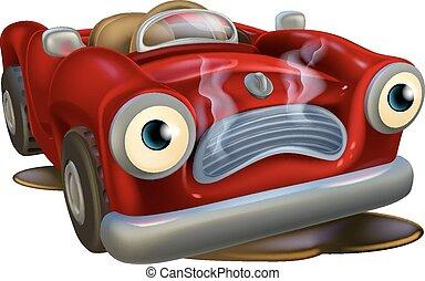 Kartoon-Auto muss repariert werden.