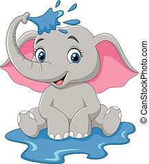 Kartoon-Baby-Elefantsprühen.