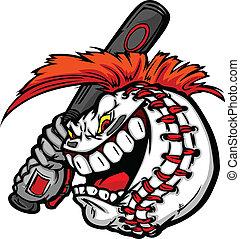 Kartoon-Baseball-Ball-Gesicht mit Mohawk-Farben mit Baseball-Ball-Darstellungsvektor.
