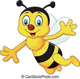 Kartoon Biene winkt Hand isoliert.
