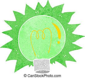 Kartoon blinkt grüne Glühbirne.