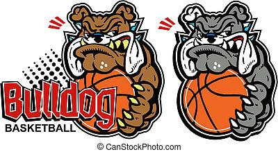 Kartoon Bulldog mit Basketball.