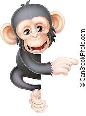 Kartoon-Chimp-Affen zeigen.