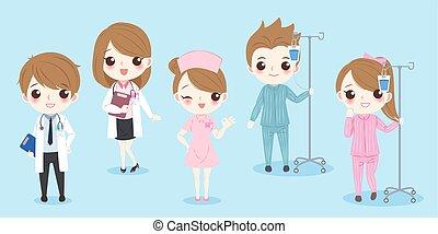 Kartoon Doktor mit Patient.