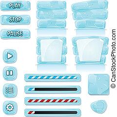 Kartoon-Eis und Glas-Icons für ui-Spiel.