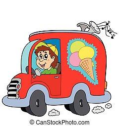 Kartoon Eismann im Auto.