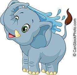 Kartoon-Elefant, der Wasser sprüht.