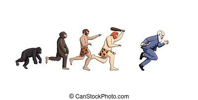 Kartoon Evolutionstheorie, Fortschritt der Menschheit.
