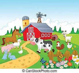 Kartoon Farm Hintergrund mit Tier.