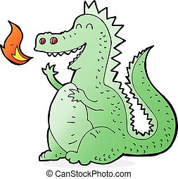 Kartoon-Feuer atmet Drachen.