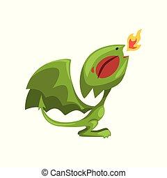Kartoon-Feuer atmet Drachen. Grüne Märchenfigur mit großen Flügeln. Isoliertes flaches Vektordesign für mobiles Spiel, Buch, Kinderbuch, Aufkleber oder T-Shirt-Druck
