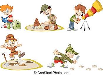 Kartoon-Forscher-Jungs.