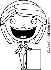 Kartoon-Frau Bikini-Schild.