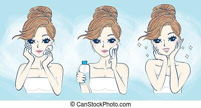 Kartoon-Frau hat Probleme mit der Hautpflege.