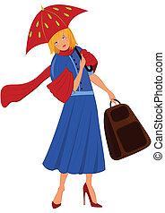 Kartoon-Frau in blauer Jacke mit rotem Regenschirm